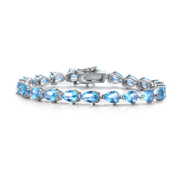 Collette Z Sterling Silver Cubic Zirconia Blue and Clear Bracelet