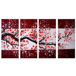 Design Art - Modern Red Tree Oil Painting