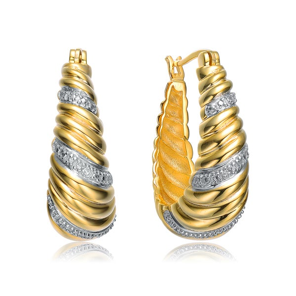 Collette Z Gold Plated Cubic Zirconia Swirl Hoop Earrings