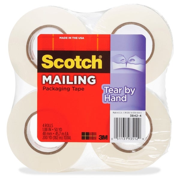 Scotch Tear-By-Hand Packaging Tape - 4/PK