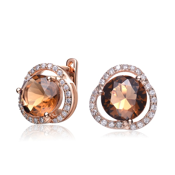 Collette Z Rose Gold Plated Bronze Cubic Zirconia Knob Earrings