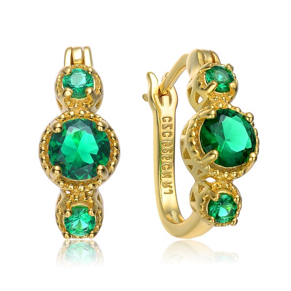 Collette Z Gold Plated Green Cubic Zirconia Hinged Earrings