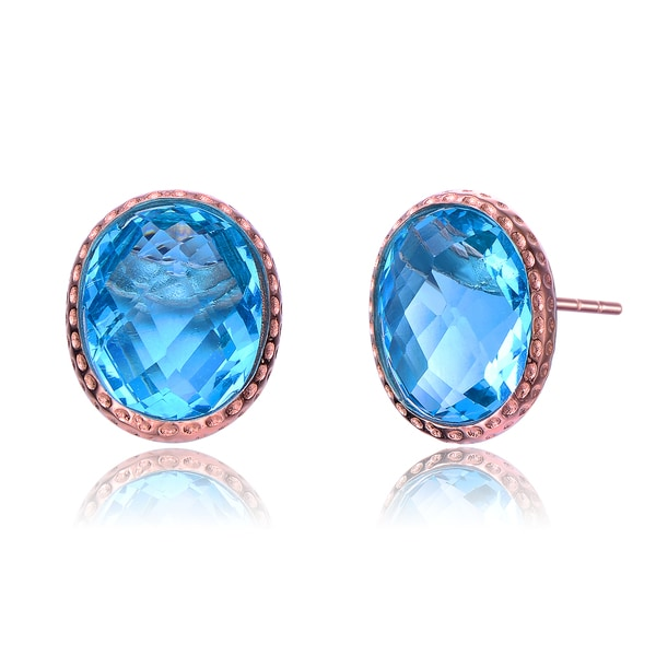 Collette Z Rose Gold Plated Bright Blue Cubic Zirconia Earrings