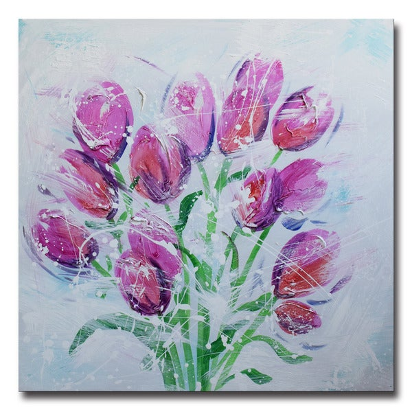 Design Art -Bouquet of Tulips- Hand Painted - 40 x 40
