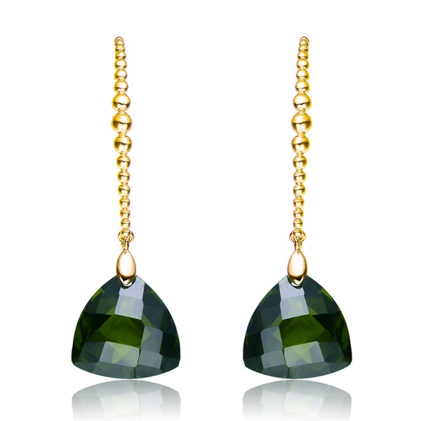 Collette Z Gold Plated Dark Green Cubic Zirconia Drop Earrings
