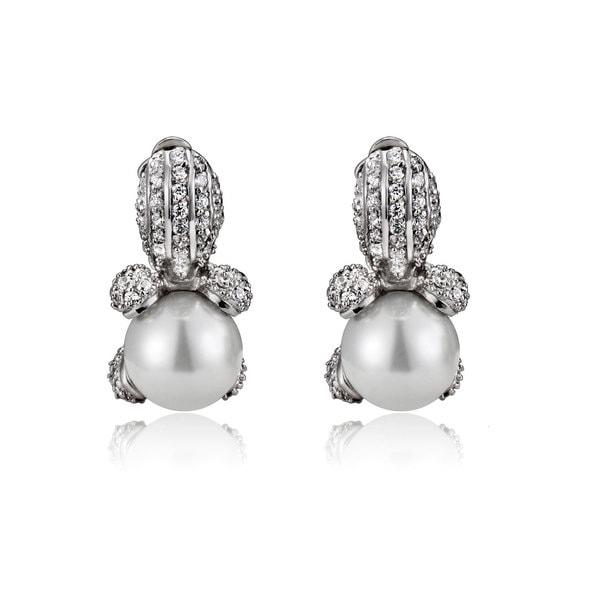 Collette Z Sterling Silver Cubic Zirconia & Pearl Pear Drop Earrings