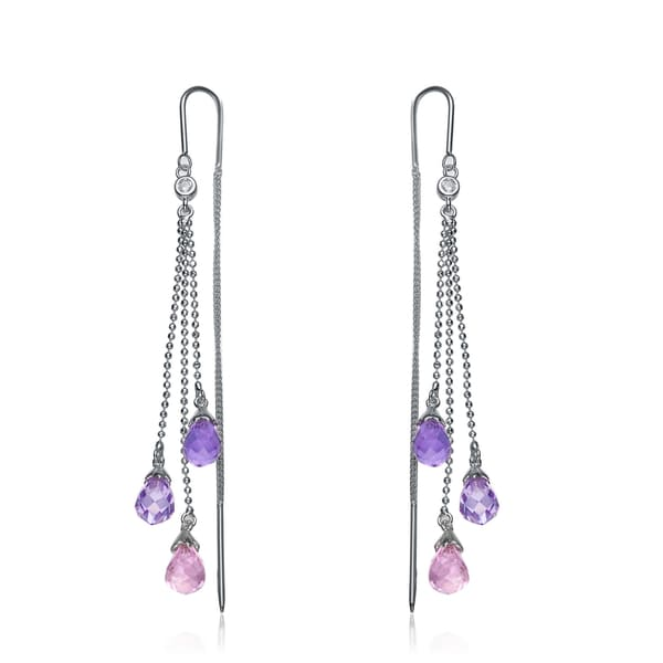 Collette Z Sterling Silver Cubic Zircona Pastel Drop Earrings