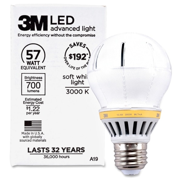 3M Commercial LED Advanced Light A19 RCA19C3, Soft White 3000K, 700 Lumens Dimmable - 1/EA