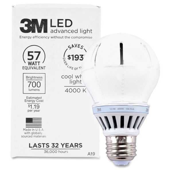 3M Commercial LED Advanced Light A19 RCA19B4, Cool White 4000K, 800 Lumens Dimmable - 1/EA