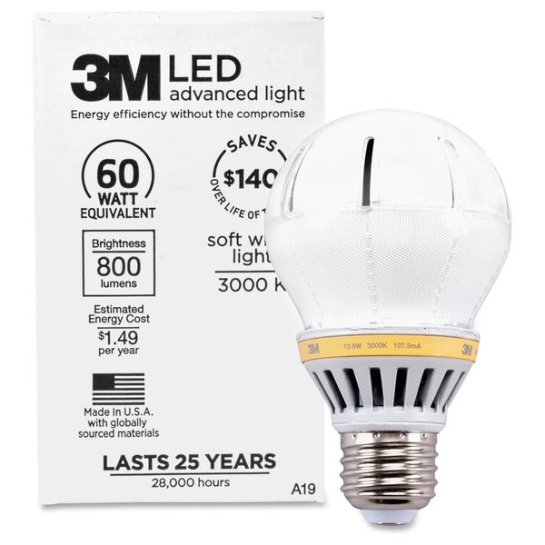3M Commercial LED Advanced Light A19 RCA19B3, Soft White 3000K, 800 Lumens Dimmable - 1/EA