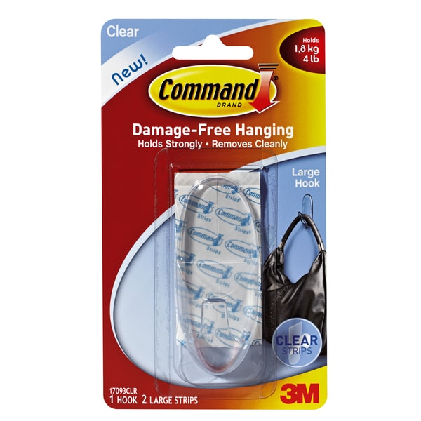 Command Large Clear Hanging Hook - 1/PK