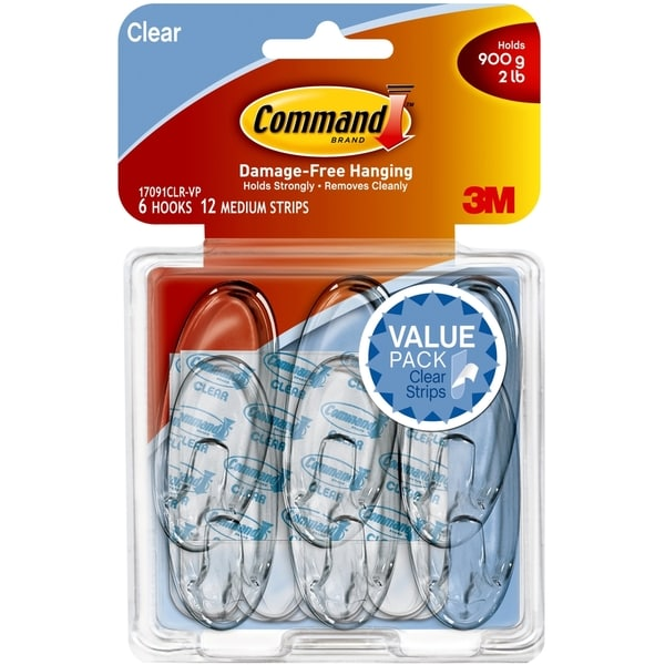 Command Clear Medium Hook Value Pack - 12/PK