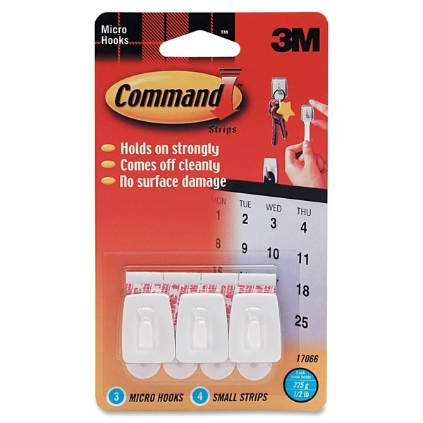 Command Micro Hooks with Strips - 3/PK