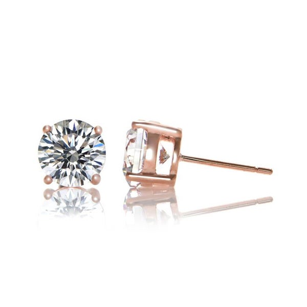Collette Z Rose Plated Cubic Zirconia Classic Stud Earrings