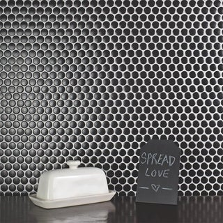 SomerTile 12 x 12.625-inch Penny Matte Black Porcelain Mosaic Floor and Wall Tile (Pack of 10)