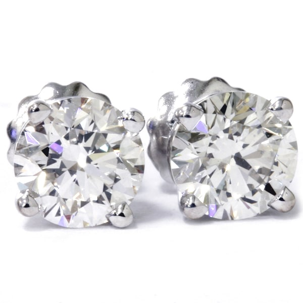 14k White Gold 1.25 ct TDW Lab Grown Diamond Studs with Screw backs (E-F, VS1-VS2)