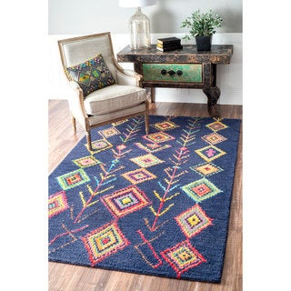 nuLOOM Contemporary Handmade Wool/ Viscose Moroccan Triangle Navy Rug (4' x 6')