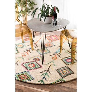 nuLOOM Contemporary Handmade Wool/ Viscose Moroccan Triangle Tan Rug (6' Round)