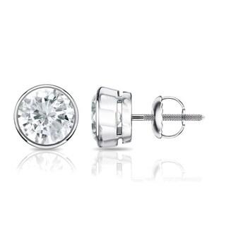 Auriya 14k Gold 1/2ct TDW Bezel Screw-Back Round Diamond Stud Earrings (J-K, SI2-SI3)