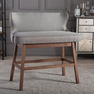 Baxton Studio Gradisca Modern and Contemporary Grey Fabric Button-Tufted Upholstered Bar Bench Banquette