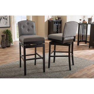 Baxton Studio Ginaro Modern Grey Fabric Button-tufted Upholstered Swivel Bar Stool (Set of 2)