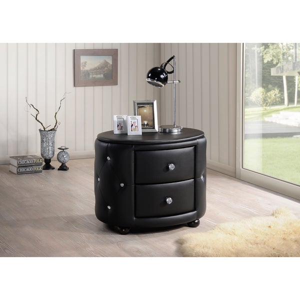 Baxton Studio Davina Hollywood Glamour Style Oval 2-drawer Black Faux Leather Upholstered Nightstand