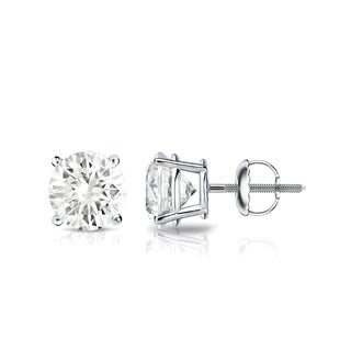 Auriya Platinum 1ct TDW 4-Prong Screw-Back Round Diamond Stud Earrings (J-K, SI1-SI2)
