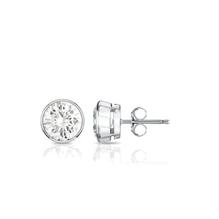Auriya Platinum 3/5ct TDW Bezel Push-Back Round Diamond Stud Earrings (J-K, SI1-SI2)