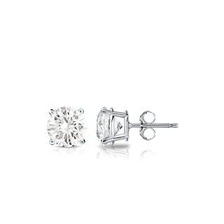 Auriya 18k Gold 1/2ct TDW 4-Prong Push-Back Round Diamond Stud Earrings (J-K, SI1-SI2)