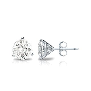 Auriya 14k Gold 1ct TDW 3-Prong Push-Back Round Diamond Stud Earrings (J-K, SI1-SI2)