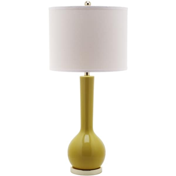 Safavieh Mae Mustard Gold Long Neck Ceramic Table Lamp