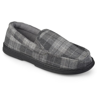 Perry Ellis Men's Moccasin Plaid Slippers