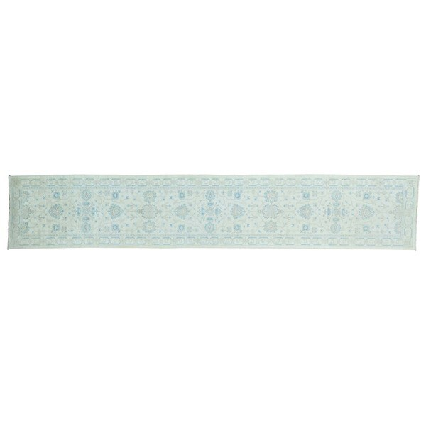 White Wash Peshawar Runner Pure Wool Hand-knotted Rug (2'6 x 14'1)