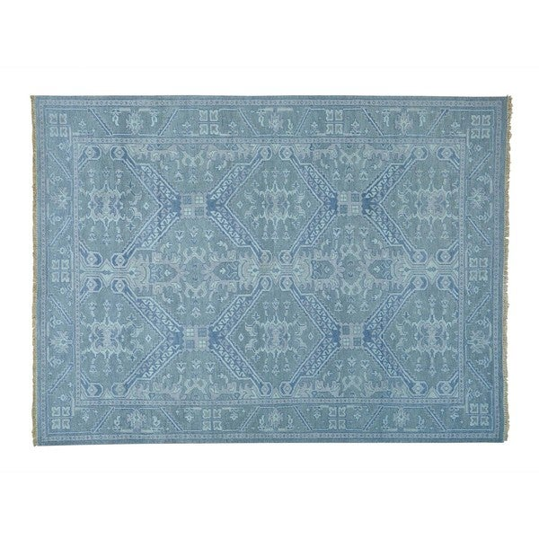 Handmade Pure Wool Grey Oushak Cropped Thin Oriental Rug (8'10 x 12')