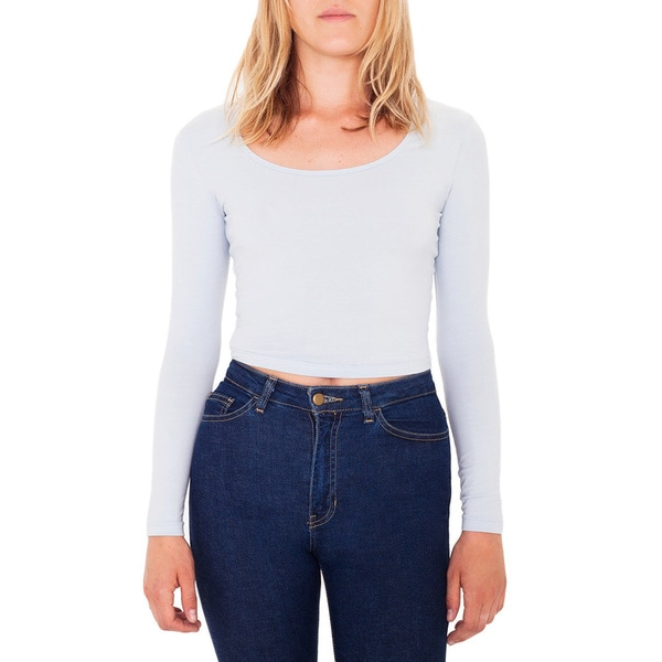 American Apparel Cotton Blend Reed Cropped Top