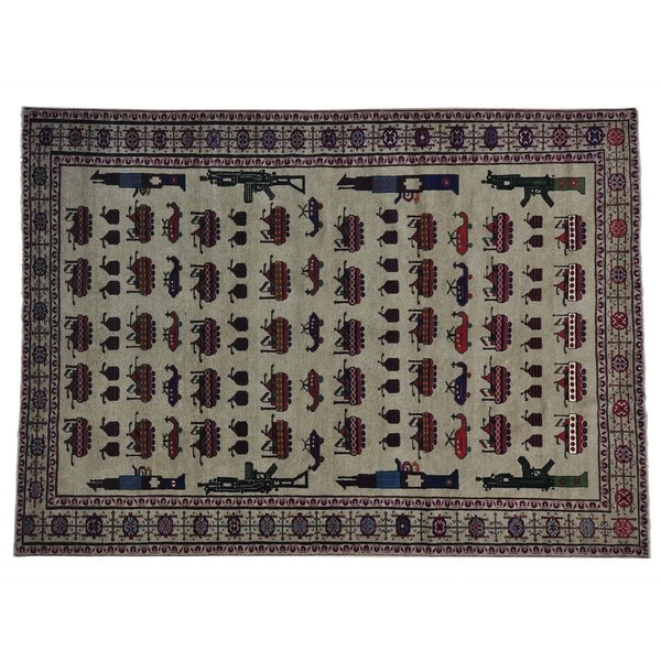 Pure Wool XL Afghan Baluch War Tanks Grenades Rug (6'10 x 9'5)