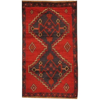 Herat Oriental Afghan Hand-knotted Tribal Balouchi Red/ Navy Wool Rugs (2'10 x 4'9)