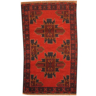 Herat Oriental Afghan Hand-knotted Tribal Balouchi Red/ Navy Wool Rugs (2'8 x 4'6)
