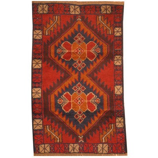 Herat Oriental Afghan Hand-knotted Tribal Balouchi Red/ Navy Wool Rugs (2'10 x 4'7)