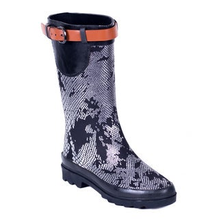 Women's Metallic Snakeskin Mid-Rise Rubber Rain Boots