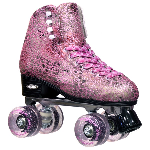 Epic Sparkle Pink Metallic High-Top Quad Roller Skates
