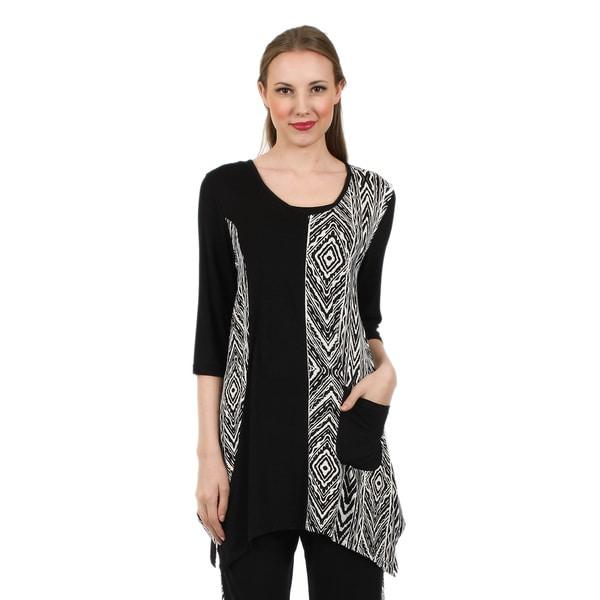 Firmiana Women's 3/4 Sleeve Black/ White Pocket Tunic