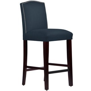 Skyline Furniture Nail Button Arched Barstool in Linen Navy