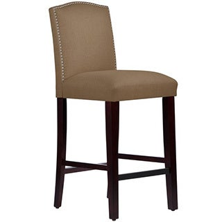 Skyline Furniture Nail Button Arched Barstool in Linen Taupe