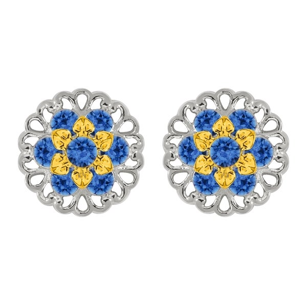 Lucia Costin Sterling Silver Blue Crystal Earrings
