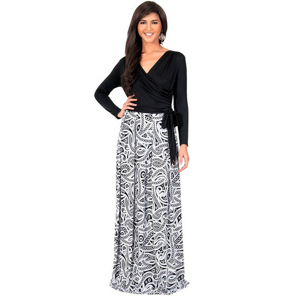 KOH KOH Women's Cross Over Wrap Long Sleeve Printed Maxi Dress