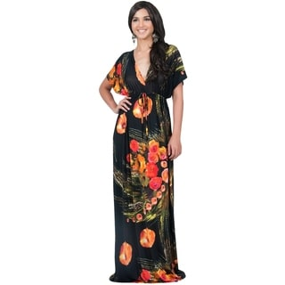 KOH KOH Women's Stunning Kimono Sleeve Floral Print V-Neck Maxi Dress