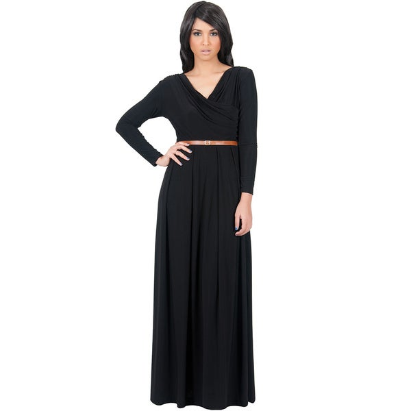Koh Koh Women's Crossover Wrap Long Sleeve Maxi Dress