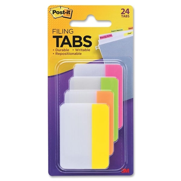 Post-it Tabs, 2 inch Solid, Assorted Bright Colors, 6/Color, 4 Colors, 24/Pk - 24/PK