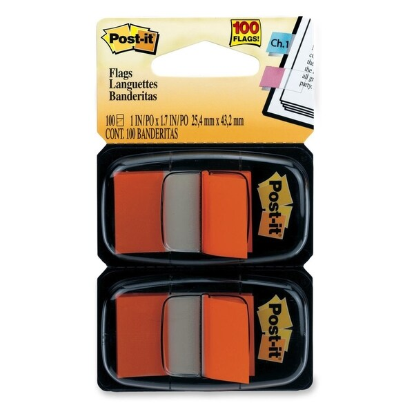 Post-it Flags 680-OE2, 1 in x 1.719 in (2.54 cm x 4.31 cm) Orange, 2-pk - 100/PK
